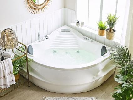 Whirlpool Badewanne St. Tropez 145x145 cm mit 14 Massage Düsen + Heizung + Ozon + Wasserfall + Beleuchtung innen