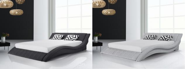 Designer Stoff Bett Polsterbett Vicky Lederbett schwarz + grau 180 x 200 cm mit Lattenrost