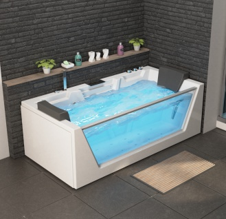 Luxus Whirlpool Badewanne Mailand mit 14 Massage Düsen Glas LED Heizung Ozon Radio Armaturen Bad