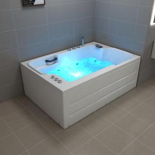 Luxus Doppel Whirlpool Badewanne Lugano Doppelwanne mit 14 Massage Düsen +LED + Armaturen für 2 Personen günstig