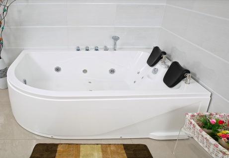 XXL Luxus Whirlpool Badewanne Bali RECHTS mit 14 Massage Düsen + Armaturen Spa für Bad rechte Eckwanne günstig - Vorschau 4