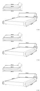 """Designer ECHTLEDER Bett Lederbett """"Avignon"""" weiss Polsterbett mit Lattenrost / Lattenrahmen günstig 140 160 180 x 200 cm - Vorschau 5"""
