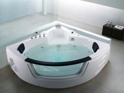 Whirlpool Badewanne Mallorca mit 12 Massage Düsen + LED Beleuchtung Luxus Spa innen günstig - Vorschau 1