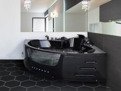 Whirlpool Badewanne Mallorca SCHWARZ 144x144 o. 155x155 cm mit 12 Massage Düsen + LED Beleuchtung Luxus Spa günstig