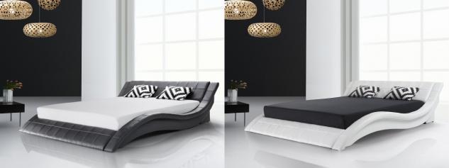 Designer ECHTLEDER Bett Polsterbett Vicky Lederbett schwarz weiß 180x200 cm mit Lattenrost günstig