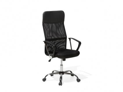 """Leder Chefsessel Bürosessel """"Deluxe"""" schwarzer Bürostuhl mit Chrom + hohe Rückenlehne günstig"""
