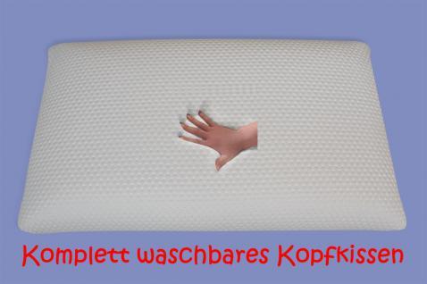 NEU waschbares Gel Gelschaum Kopfkissen Clean Memory 80 x 40 x 9 / 12 / 15 cm Kissen waschbar weich - Vorschau 1