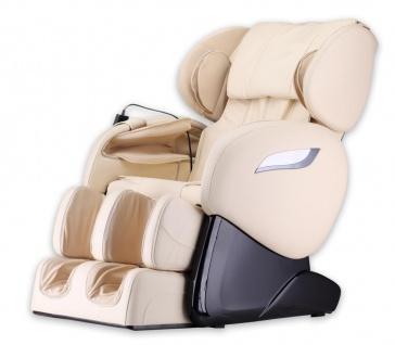 Massagesessel Shiatsu F2000 Leder Farbe beige weiß mit Rollentechnik + Heizung + Fußmassage günstig