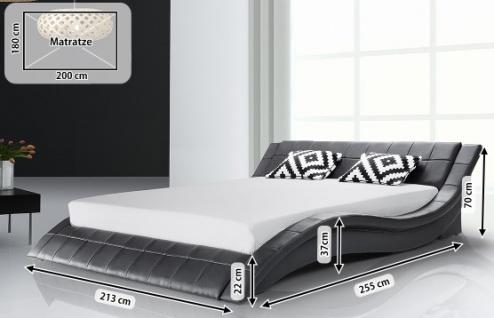 Designer ECHTLEDER Bett Polsterbett Vicky Lederbett schwarz weiß 180x200 cm mit Lattenrost günstig - Vorschau 5