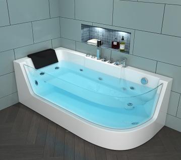 Luxus Whirlpool Badewanne Costa Rica 170 x 80 cm mit Glas + Armaturen + 4 Massage Düsen Spa für Bad