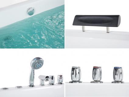 Whirlpool Badewanne Manhattan freistehend mit 14 Massage Düsen + Beleuchtung Luxus Spa innen günstig - Vorschau 2