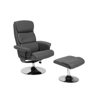 Moderner Massagesessel Lyon Leder Sessel mit Massage Farbe schwarz Fernsehsessel mit Hocker günstig - Vorschau 2