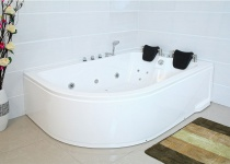XXL Luxus Whirlpool Badewanne Bali RECHTS mit 14 Massage Düsen + Armaturen Spa für Bad rechte Eckwanne günstig