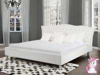 NEU Barock Polsterbett Unicorn Lederbett Leder Bett weiss mit Strasssteine + Lattenrost / Bettkasten