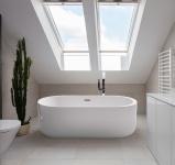 Freistehender Luxus Whirlpool Badewanne Bern freistehend mit 12 Massage Düsen + LED Spa für Bad