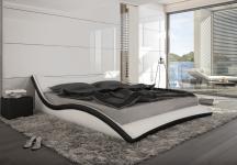 Designer Leder Bett / Polsterbett Neapel schwarz oder weiss geschwungenes wellenförmiges Lederbett Wellendesign günstig