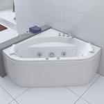 Luxus Whirlpool Badewanne Andorra 140 x 140 cm mit 12 Massage Düsen LED Spa für Bad Eckwanne günstig