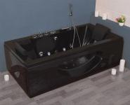 Luxus Whirlpool Badewanne Samurai Profi SCHWARZ mit 26 Massage Düsen + LED + Heizung + Ozon für Bad