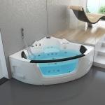 Luxus Whirlpool Badewanne London 135x135 / 140x140 / 157x157 cm mit 21 Massage Düsen + LED + Heizung + Ozon + Glas