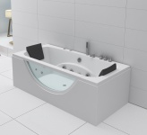 Luxus Whirlpool Badewanne Amazonas 180x90 cm mit 10 Massage Düsen Glas LED Spa für Bad Eckwanne günstig