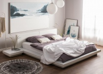 """Massives Designer Bett """"Japan Style"""" 180x200 cm Holz Bett weiss mit Lattenrost - Futonbett japanischer Stil Holzbett"""