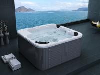 Outdoor Whirlpool Hot Tub weiß Spa Venedig mit 44 Massage Düsen + Heizung + Ozon Desinfektion für 6 Personen Garten / Terrasse