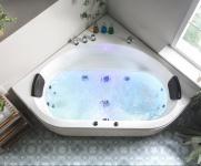 Luxus Whirlpool Badewanne Malta 140 x 140 cm mit 12 Massage Düsen LED Spa für Bad Eckwanne günstig