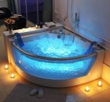 Luxus Whirlpool Badewanne Atlanta mit 17 Massage Düsen + LED + Heizung + Ozon + Glas für Bad weiss