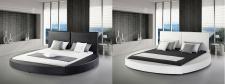 """Designer ECHTLEDER Rundbett Luna rundes Lederbett schwarz + weiß 180 x 200 cm mit Lattenrost"""""""""""