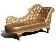 Designer ECHTLEDER Chaiselongue Leder Chesterfield WEISS, SILBER oder GOLD Lounge Couch Sofa aus Eiche Holz