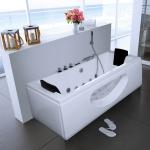 Luxus Whirlpool Badewanne Samurai Profi WEISS mit 26 Massage Düsen + LED + Heizung + Ozon für Bad