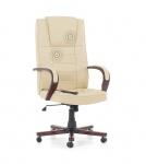 Leder Chefsessel Massagesessel San Diego Holz Bürosessel creme weiß beige mit Massage + bequeme Polsterung