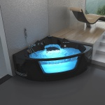 Luxus Whirlpool Badewanne London Farbe schwarz 157x157 cm mit 22 Massage Düsen + LED + Heizung + Ozon + Glas