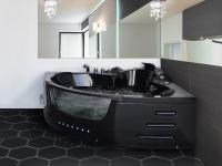 Whirlpool Badewanne Mallorca SCHWARZ mit 12 Massage Düsen + LED Beleuchtung Luxus Spa günstig