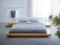 "Massives Designer Bett ""Japan Style"" 180x200 cm Holz Bett Buche / hellbraun mit Lattenrost - Futonbett japanischer Stil"