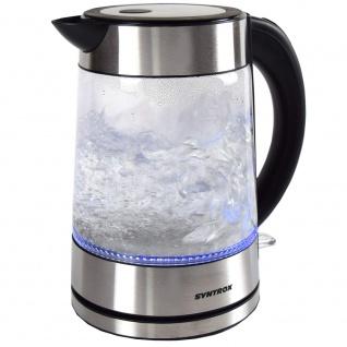 Syntrox 1, 7 Liter Edelstahl schnurlos Glas Wasserkocher Lago mit blauem LED Licht 360° cordess Wasserkessel