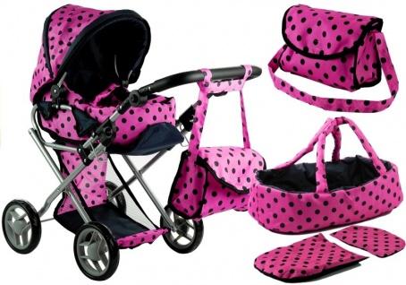 Puppenwagen Alice Kinderwagen Puppe Babytrage Set Wagen Rosa