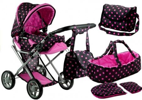 Puppenwagen Alice Kinderwagen Puppe Babytrage Set Wagen Schwarz