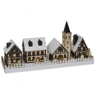 Weihnachtsleuchter Winterstadt, 10 warmweiße LEDs, batteriebetrieben
