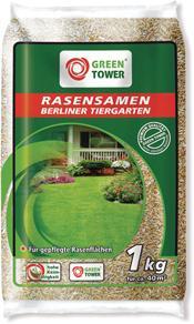 GREEN TOWER 3 x Rasensamen Berliner Tiergarten Beutel à 1, 0 kg