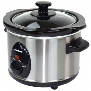 Syntrox 1, 5 Liter Edelstahl Slow Cooker mit Warmhaltefunktion