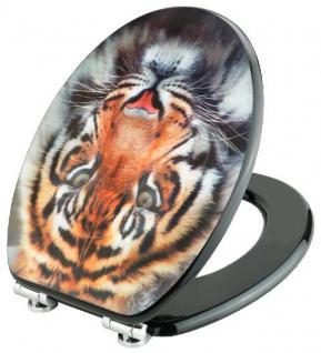 Toilettendeckel WC Deckel WC-Sitz MDF Tiger-Kopf in 3D-Dekor