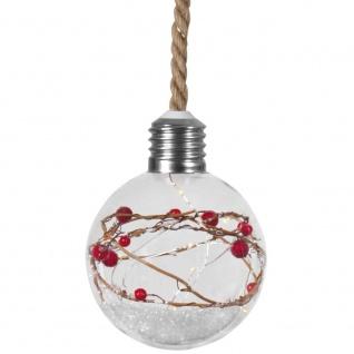 Glaskugel, 15 warmweiße LEDs, Beeren & Schnee