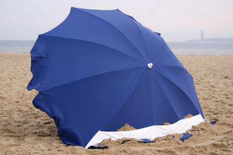 Strandmuschel + Sonnenschirm (2in1) aus Polyester UPF 80+, 240 cm, blau - Vorschau 1