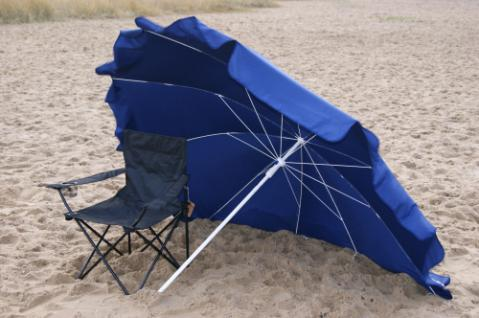 Strandmuschel + Sonnenschirm (2in1) aus Polyester UPF 80+, 240 cm, blau - Vorschau 3