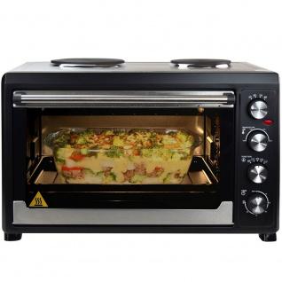 Syntrox Germany 60 Liter Mini Backofen mit Umluft und Drehspieß Miniküche mit 2 Kochplatten Miniofen Minibackofen Pizzaofen - Vorschau 4