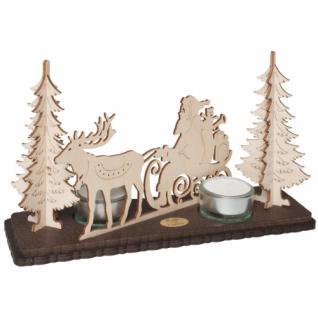 Saico Teelichthalter Weihnachtsmann mit Schlitten im Wald