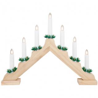 Weihnachtsleuchter natur, 7 warmweiße LEDs, batteriebetrieben