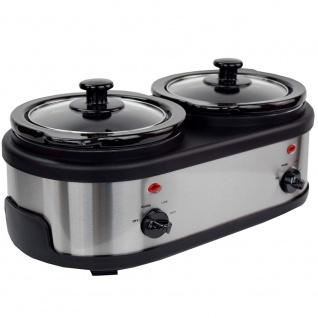 Syntrox Edelstahl Slow Cooker 2 x 1, 5 Liter - Vorschau 3