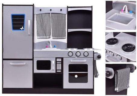 Holzküche Silbern mit Kühlschrank